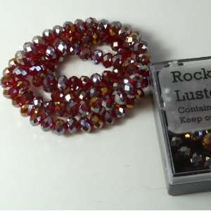 Ruby Red Ab Luster Crystal Glass Faceted Fluted Machine Cut Rondelle