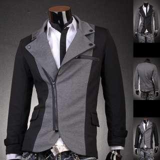 3mu Mens Military Designer Slim Jacket Blazer Coat Shirt Black/Gray S