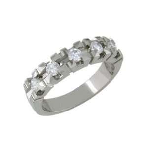 Diona   size 12.25 14K White Gold Diamond Cut Ring Jewelry