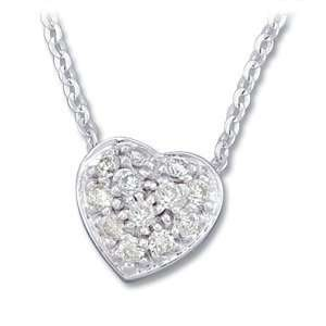 14K White Gold Necklace Diamond Heart Necklace Jewelry