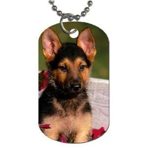 Cute german shepherd puppy Dog Tag with 30 chain necklace