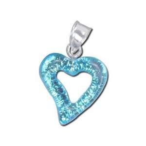 16mm Blue Heart Dichroic Glass Pendant: Arts, Crafts & Sewing