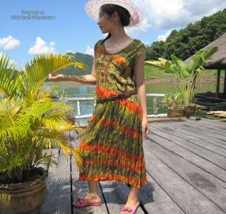 rice fields open collar ladies tiedye summer dress olive green