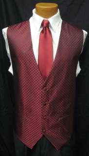 New Mens Red Fullback Vest & Tie XL Wedding Prom