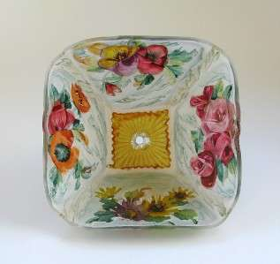 FANTASTIC SQUARE PAIRPOINT PUFFY REVERSE PAINTED FLORAL LAMP SHADE