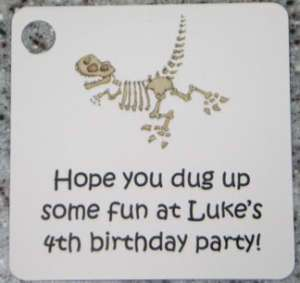 15 Personalized Dinosaur Bones Favor Gift Tags Birthday