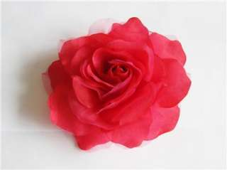 inch RED Silk Rose Wedding Bridal Hair Flower Clip