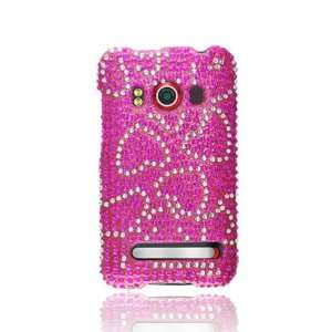 HTC Evo 4G Full Diamond Graphic Case   Hot Pink/Silver