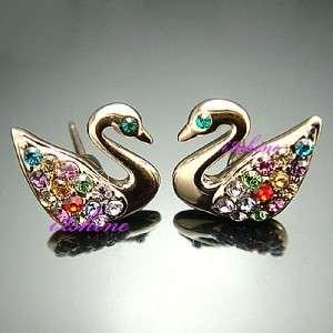 18K Gold GP Swarovski Crystal Mandarin duck earrings