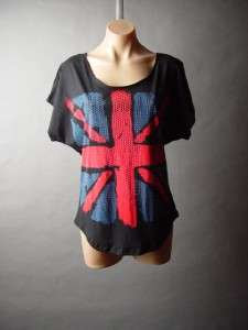 UK British Flag Union Jack Studded Relaxed Fit Tee Top Shirt L