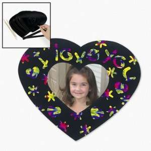 Magic Color Scratch Heart Shaped Photo Frame Magnets