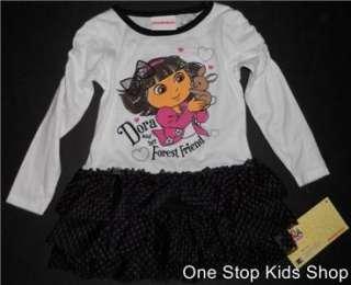 DORA THE EXPLORER 2T 3T 4T 6 Outfit Set DRESS Tutu Shirt Top Skirt