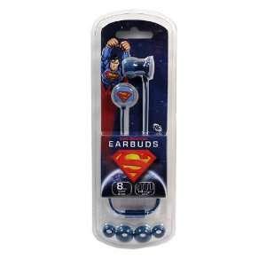 Superman Logo Blue Metal Earbud Headphones Electronics