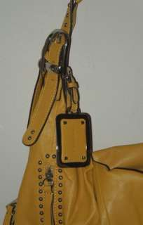 Makowsky Yellow Gold Leather Silver Stud Hobo Bag Purse