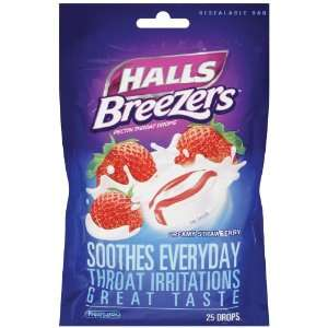 Breezers Drops, Cool Creamy Strawberry, 25 Count Drops (Pack of 12
