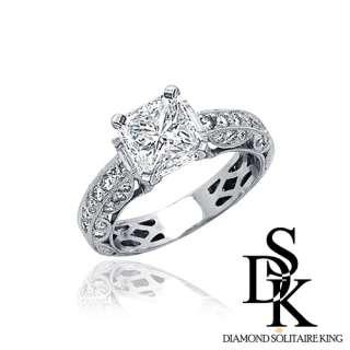 Diamond Ring 1.36 Ct Radiant 18k White Gold Angel100% Real