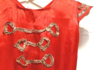 50s RED SATIN childs BAND DRUM MAJORETTE DRESS COSTUME 6X