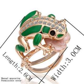 R27 New 18K rose Gold plated Swarovski crystal frog Ring size 8