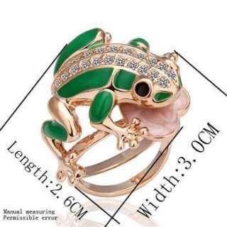R27 New 18K rose Gold plated Swarovski crystal frog Ring size 8