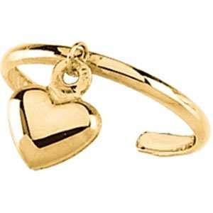 Toe Ring 14K Yellow Gold Toe Ring W/Heart Jewelry