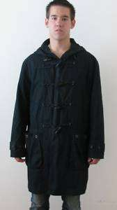 QUALITY HOODED NAVY BLUE DUFFLE COAT WOODEN TOGGELS MANS JACKET~M