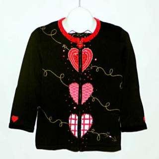 JACK B. QUICK BEREK Valentines Day Hearts Beaded Sequined Cardigan