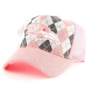 Ravens Womens Pink Argyle Trucker Hat Cap Lid