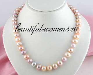 Flossy 19 13mm pink purple freshwater pearl necklace 925silver