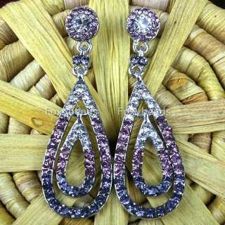 PURPLE Pair Silver Tone Rhinestone Dangle Drop Earrings