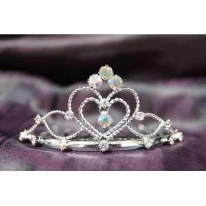 Princess Bridal Wedding Tiara Crown with AB Crystal Heart
