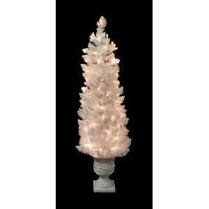4 Slim White Crystal Pine Pre lit Potted Artificial