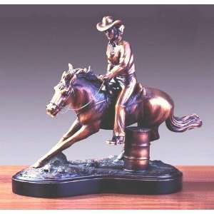 Bronze Barrel Racing Horse Sculpture   9.5 Tall x 12 Wide   Woodtone