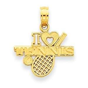 14k Gold I Heart Tennis Pendant Jewelry