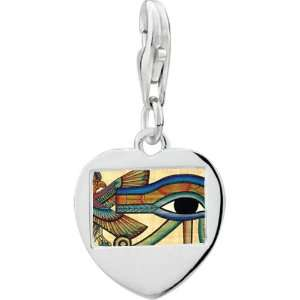 925 Sterling Silver Gold Plated Egyptian Eye Of Horus Photo Heart