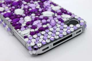 Purple&White Back Bling Hard Case Cover iPhone 4 4G 4S