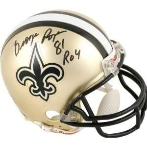 com George Rogers New Orleans Saints Autographed Mini Helmet with ROY