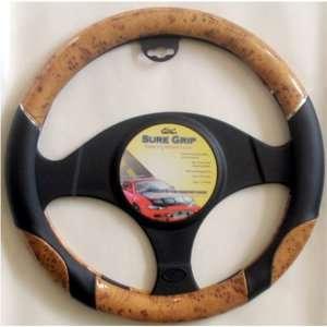 Wood & Black Steering Wheel Cover Automotive