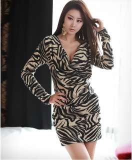 New Sexy Long Sleeve Back Lace Party Evening Zebra Stripe Mini Dress