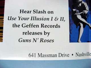 SLASH GUNS N ROSES LES PAUL STANDARD GIBSON GUITAR PROMO POSTER 1992