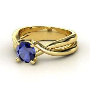 Entwined Ring, Round Sapphire 14K Yellow Gold Ring Jewelry