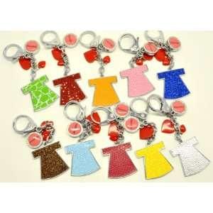 Assorted Colorful Dress Heart Precious Key Chain