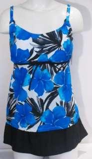 Island Escape Blue Floral Print Skirted Tankini Swimsuit Set 20W NWT