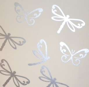 Dragonfly Butterfly Wall Stickers Removable Silver x16