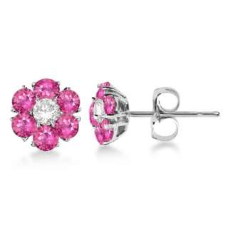 25ct Fancy Pink Sapphire & Diamond Flower Cluster Stud Earrings 14K