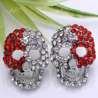 Red Clear Crystal Skull Bead Mens Stud Earring 1 Piar