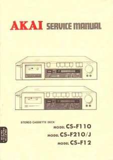 AKAI CS F110/F210/F12 SERVICE MANUAL FREE USA SHIP