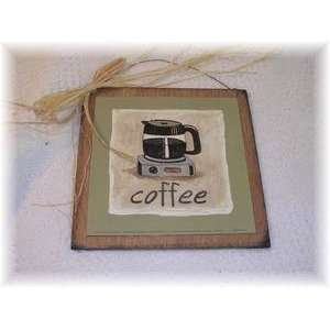 Coffee Pot Kitchen Wooden Wall Art Sign Cafe Decor