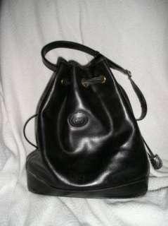 Vintage GUCCI Black LEATHER Drawstring BUCKET Bag PURSE Authentic