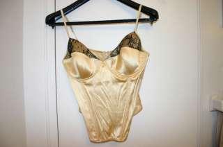 NWT La Perla Gold Corset Size 38B with Black Lace