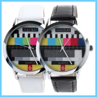 Unique Fashion TV Test Wrist Quartz Analog Leather Watch Unisex